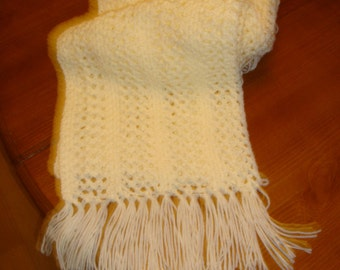 Hand crocheted lacy off white/ivory fringed scarf
