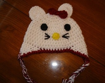 Hand crocheted kitty beanie/earflap hat photography prop