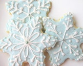 Sugar Cookies Snowflake Cookie Wedgwood Blue Glittering Winter Holiday - SugarMeDesserterie