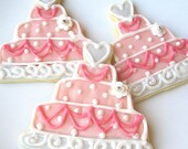 Pink Wedding Cake Sugar Cookie Favor Wedding Cake Iced Decorated Sugar Cookies