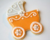 Sugar Cookies Baby Shower Baby Carriage Pram Tangerine