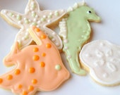 Sea Life Sugar Cookie Beach Theme Iced Decorated Cookie Seahorse Fish
