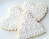 Wedding Cake Cookie Sugar Cookie Favor Iced Decorated Cookie Hearts Rustic Bridal Shower