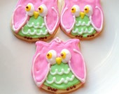 Owl Iced Sugar Cookie Owl Decorated Cookie Pink Owl Cookie Party Favor Woodland Theme