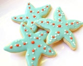 Starfish Cookie Sea Life Iced Decorated Cookie Island Beach Wedding Cookie Favor Birthday Party Dessert Table