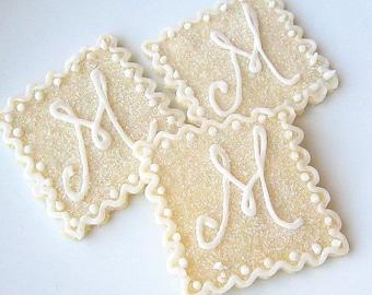 Sugar Cookies Custom Monogram Glittering Iced Wedding Cookies Iced Decorated Cookies