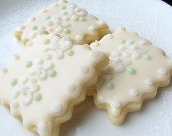 Iced Sugar Cookies Decorated Cookie Squares Vintage Wedding