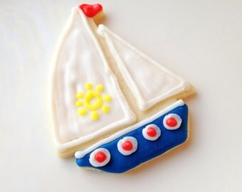 Sailboat Sugar Cookie Iced Decorated Cookie Custom Birthday