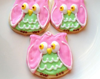 Owl Iced Sugar Cookie Cut Outs Pink Owl Cookie Favor