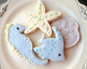 Wedding Favor Sugar Cookies Sea Life Iced Cookie Blue Beach Theme Decorated Cookie Starfish Seahorse Party Favor