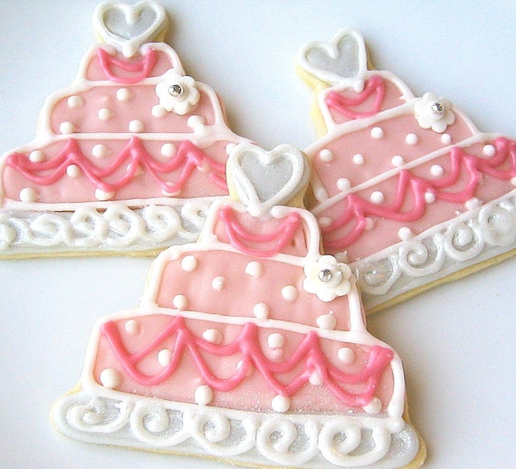 Pink Wedding Cake Cookie Favor Wedding Cake Iced Sugar Cookies