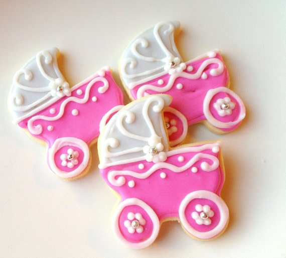 Sugar Cookie Baby Shower Decorated Cookie Custom Iced Cookie Baby Carriage Pink Cookie Favors