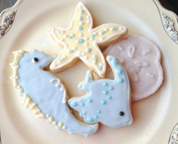 Sugar Cookies Sea Life  Blue Beach Theme Decorated Cookie Starfish Seahorse