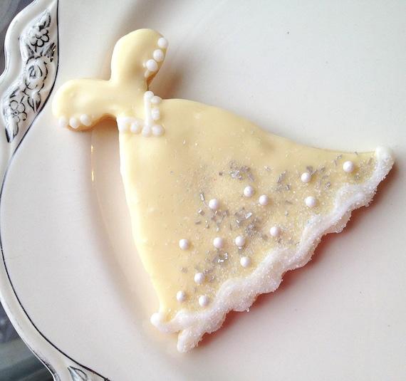 Ivory Wedding Dress Cookie Sugar Cookie Favor Glitter Wedding Gown