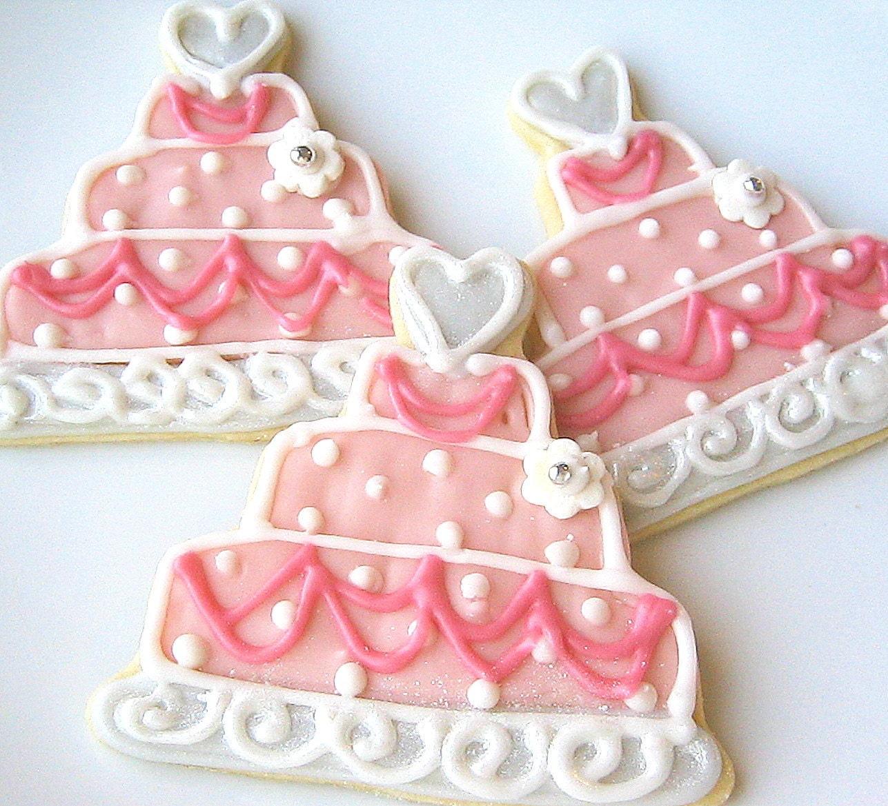 Pink Wedding Cake Sugar Cookie Favor Wedding by