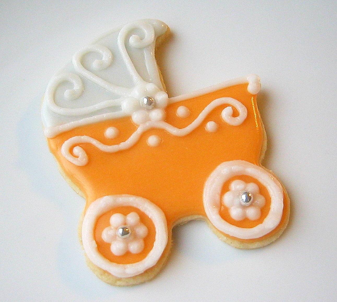 items similar to sugar cookies baby shower baby carriage pram
