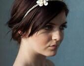 Bridal pearl headband - lustrous ivory pearls