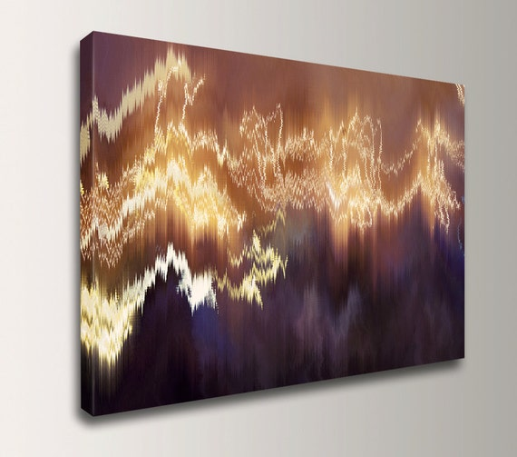 "Digital Art - Canvas Wall Art - Modern Canvas Print - Deep Purple and Gold Art - ""Cold Fusion"""