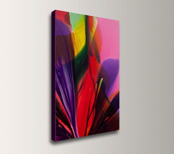 """Abstract Painting - Bright Colors - Red Purple and Magenta - Floral Wall Art - """"Sunlit Tropics"""""""