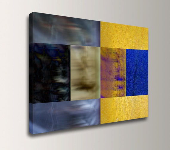 "Modern Wall Art - Canvas Print - Blue and Yellow - Geometric Art - ""Night and Day"""