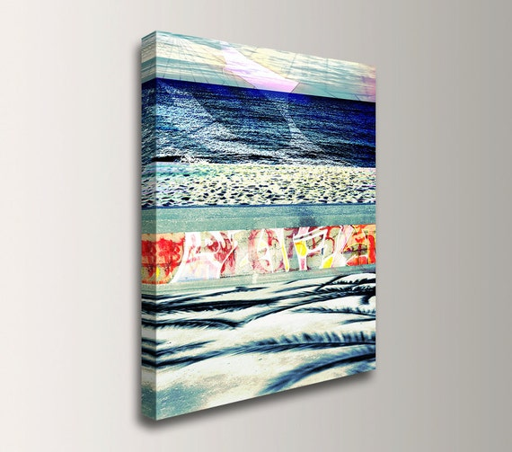 "Coastal Art, Nautical Decor - Beach Art - Mixed Media - Photo Collage - Canvas Print - "" Boardwalk Blue"""