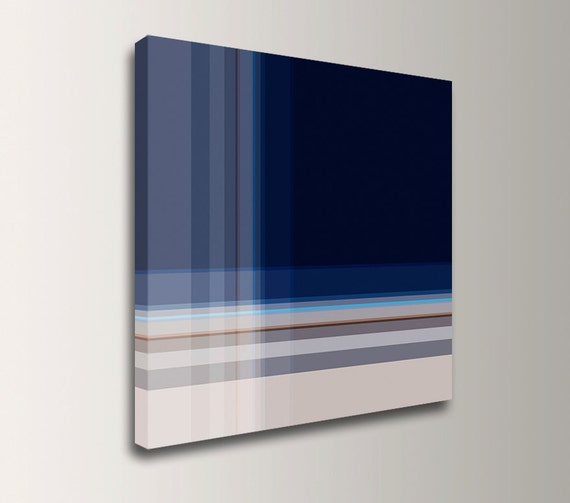"Dark Blue Wall Art - Square Canvas Print - Modern Wall Decor - Stripe Painting - ""Inlay"""
