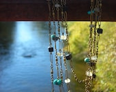 Turquoise, Black Stone, Citrine, and Vintage Fishing Necklace