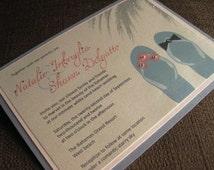Elegant Destination Sandals Wedding Invitations with Rhinestones