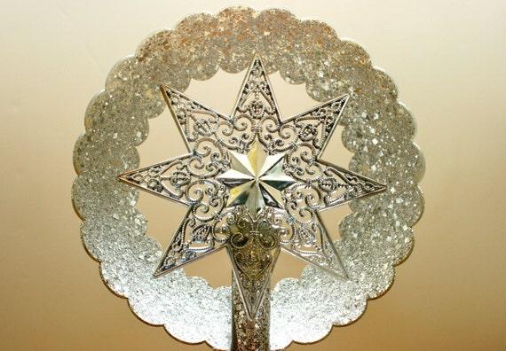 Vintage Christmas Tree Topper - Silver/Foil Glitter