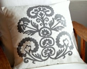 Tribal - Grey on White - Scatter Cushion 50x50cm