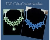 PDF Pattern Tutorial for Celtic Crochet Necklace with beads or pendant