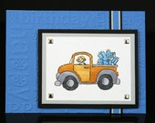 Happy Birthday - Blue themed Loads of Presents - Truck - Hand Stamped Greeting Card