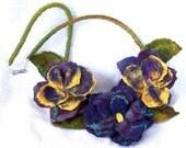 PANSIES, Fiber Art Necklace, Flower Garland , Wet Felted, Australian Made