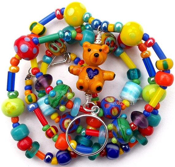 Artist Teddy Bear Eyeglass Holder Necklace, Sterling Silver, Lanyard