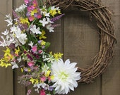 Spring Wreath- Summer Wreath- Mothers Day- Flowers