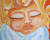 """Mother's Day art Mother and Child """"FIRST KISS""""  infant baby motherhood ORIGINAL acrylic painting orange yellow white"""