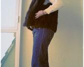 Real 70s possum boho fur vest dark brown eyed girl
