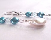 Freshwater Pearl and Swarovski Crystal Drop Earrings- Blue- White- Bridal Jewelry