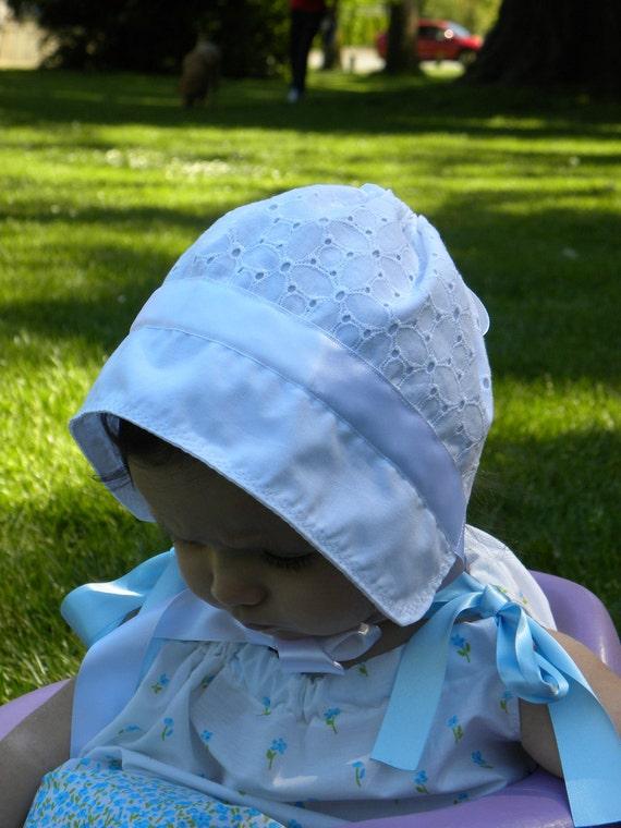 White Baby Bonnet - Easter bonnet - eyelet   3 - 6 Months - gifts under 20