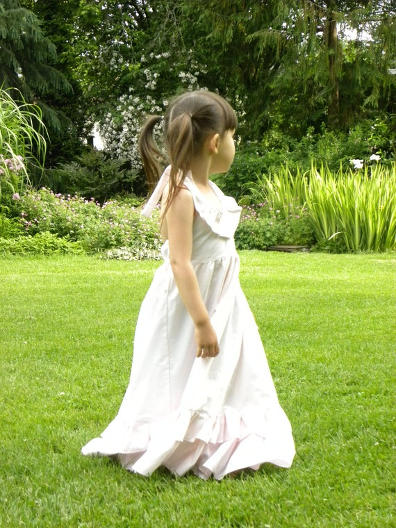 SALE- Girls Maxi Dress - Light Pink with Lots of Ruffles - Size 5