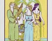 Three Fates (Clotho, Lachesis and Atropos) - Serigraph on paper - Kathleen Neeley