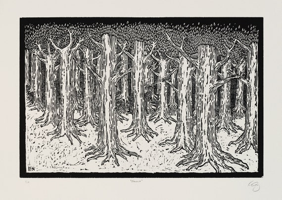 Forest - Woodblock on paper - Kathleen Neeley