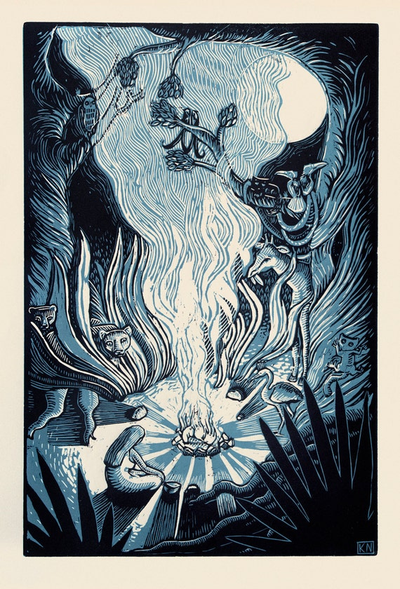 Visitor - Woodblock print on paper - Kathleen Neeley