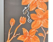 Whimsical Tangerine Flowers , Original art on stretched canvas , 8 x 10
