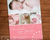 A birth announcement digital file for boy or girl, completely customizable, you print yourself