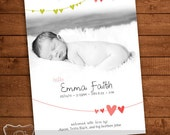 Hearts Baby Announcement, adorable for boy or girl. Customizable Digital File, 5x7 or 4x6