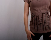 Light Brown VNeck Tee with Cityscape