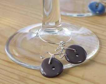 Vintage Button Bicycle Wine-glass Charms