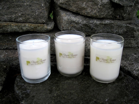 Aromatherapy Soy Candles Sampler Pack:, 100% Organic and All Natural, You Pick Scent Combo, Three 2.5oz Votives