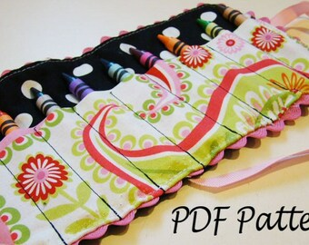 Crayon Holder Pattern-Crayon Roll Up Pattern -PDF Pattern-Ebook Pattern-Make your own - Instant Download